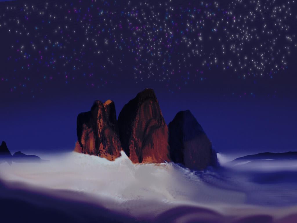 Stars and mountains - wondeful compound by KAY-painting
