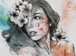 Mascara (Expressive female portrait with freesias) by KissMyArt-Artcore