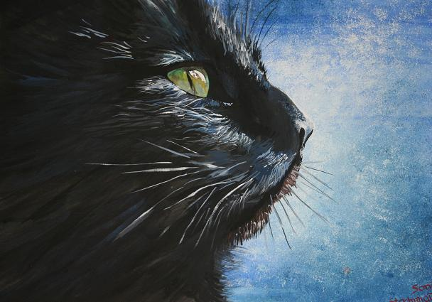 Black cat tempera 50x70 by SoniaSh