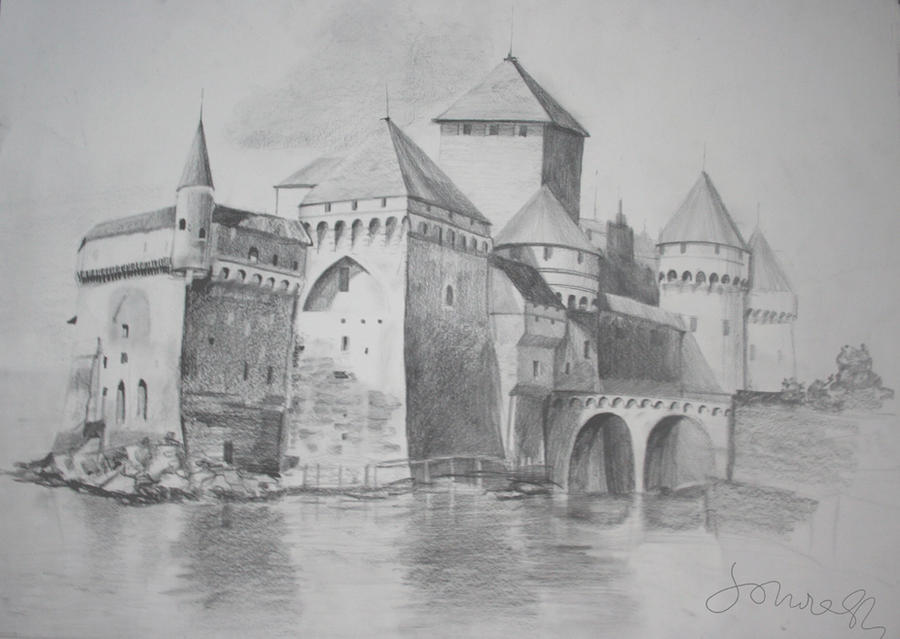 Castle Scenery Drawing Castle Pencil Drawing