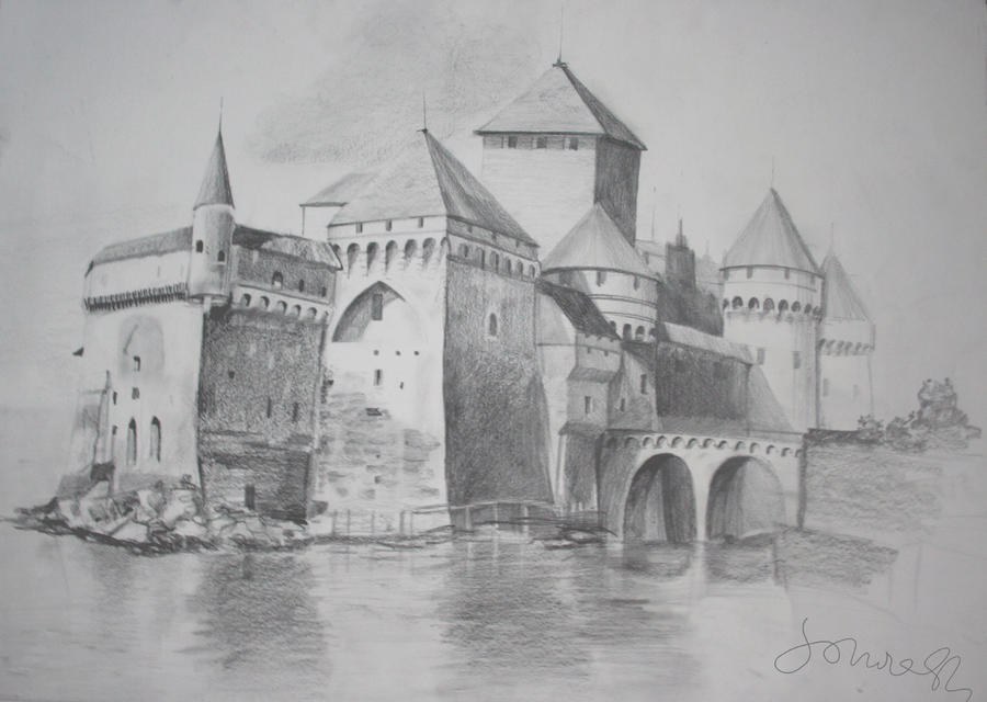 Castle Pencil drawing 100x70
