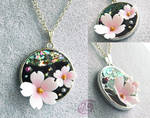 Night Cherry Blossom - Resin Pendant