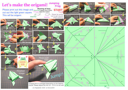 Let's make the origami! (Jumping Frog)