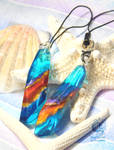 The layers of color blue and amber - Resin charms