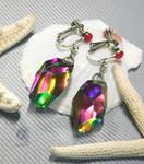 Multicolor resin crystal earrings