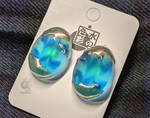 Golden and frosted blue earrings