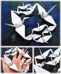 Origami cranes family by NagiSpider