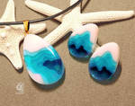 Ancient blue cave - Pendant and Earrings