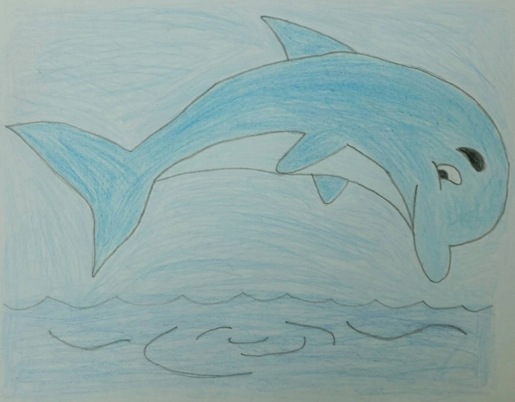 Drawing of a Cartoon Dolphin by jcpag2010