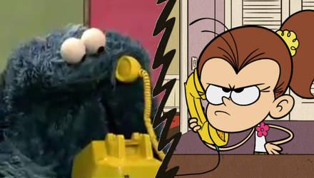 Cookie Monster's Prank Calling Luan Loud by jcpag2010