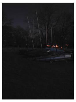 Moonlit boats ashore
