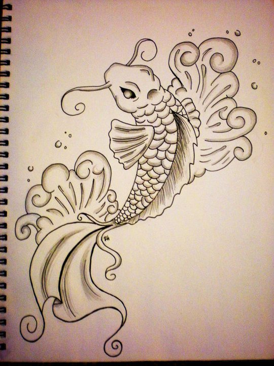 First Koi Fish Drawing By Rachieknow On Deviantart