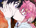 Yuki and Yuno Kissing - Mirai Nikki Wallpaper