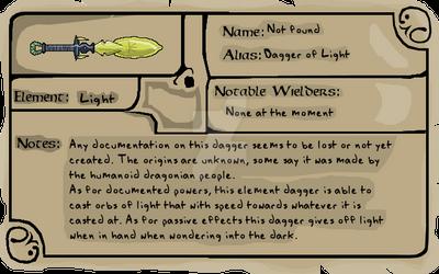 Weapon profile 01- Dagger of Light