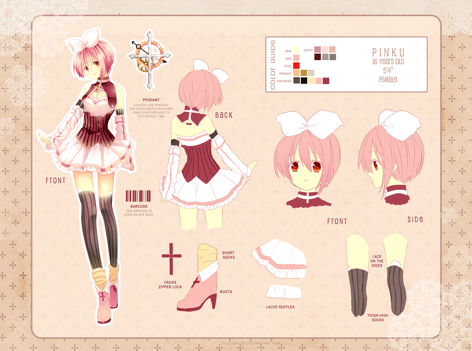 Pinku- Char Sheet Alternate Outfit by rosuuri