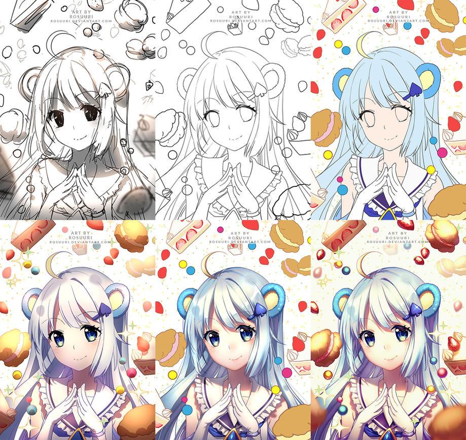 Progress Shots of Tsukino by Rosuuri