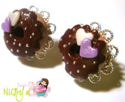 Lavender and chocolate studs by colourful-blossom