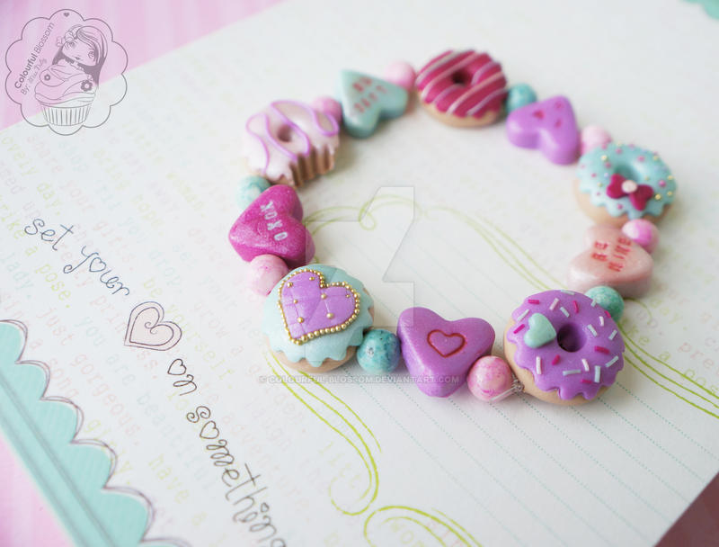 Valentine's Day Donut Bracelet by colourful-blossom