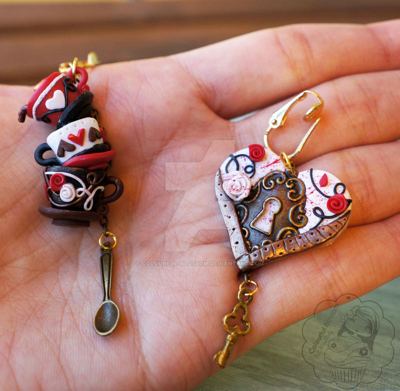 Queen of Hearts Earrings by colourful-blossom