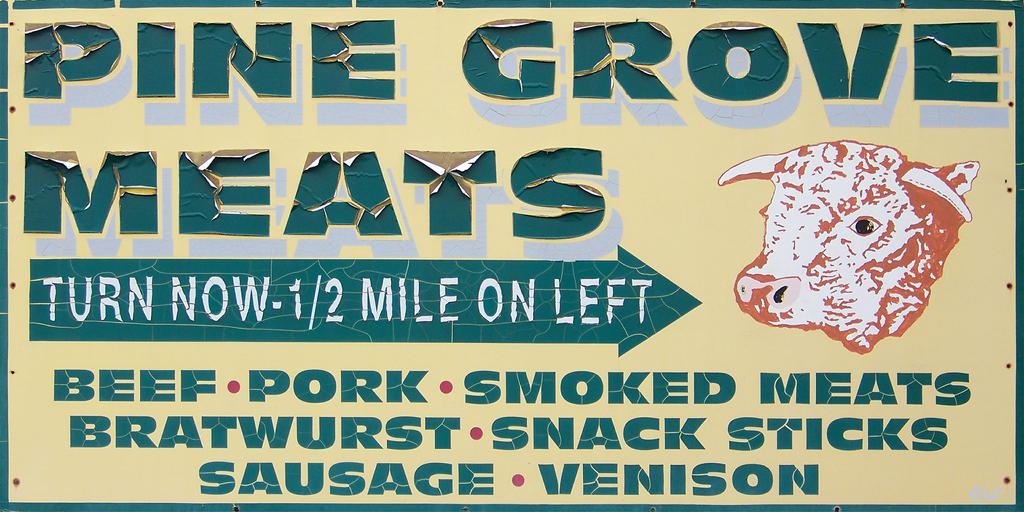 PINE GROVE MEATS sign Ogdensburg, WI 8/9/2014 5:42 by Crigger