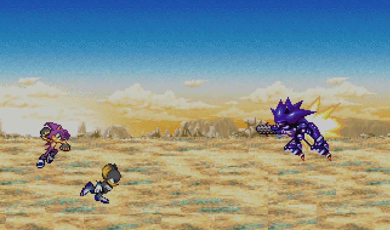 Damian and Dismal vs Mecha Sonic 2 by farofeiroman