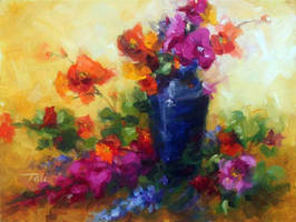 Best Friends - floral still life oil painting