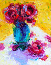 Past Bloom: impressionist rose oil-painting