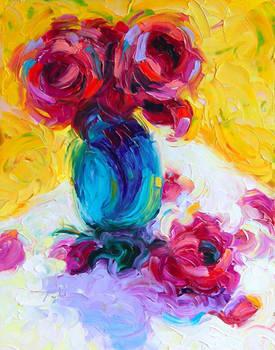 Past Bloom: impressionist rose oil-painting