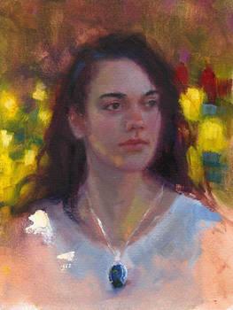 Tulips and Labradorite - oil portrait