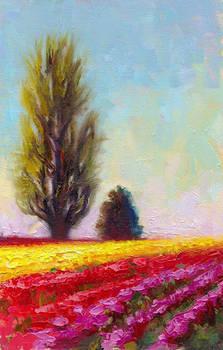 Tulip Sentinels - plein air oil painting landscape