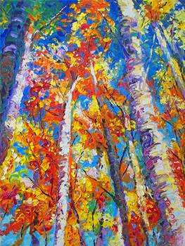 Redemption - treescape birch aspen oil painting