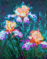 Iris foxfire - palette knife oil painting
