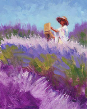 Her Muse - plein air woman painting lavender