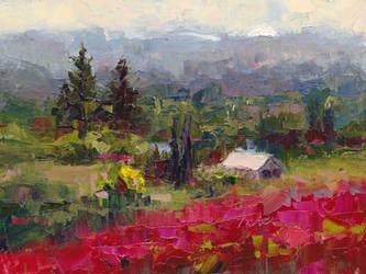 Crimson hillside - plein air oil painting