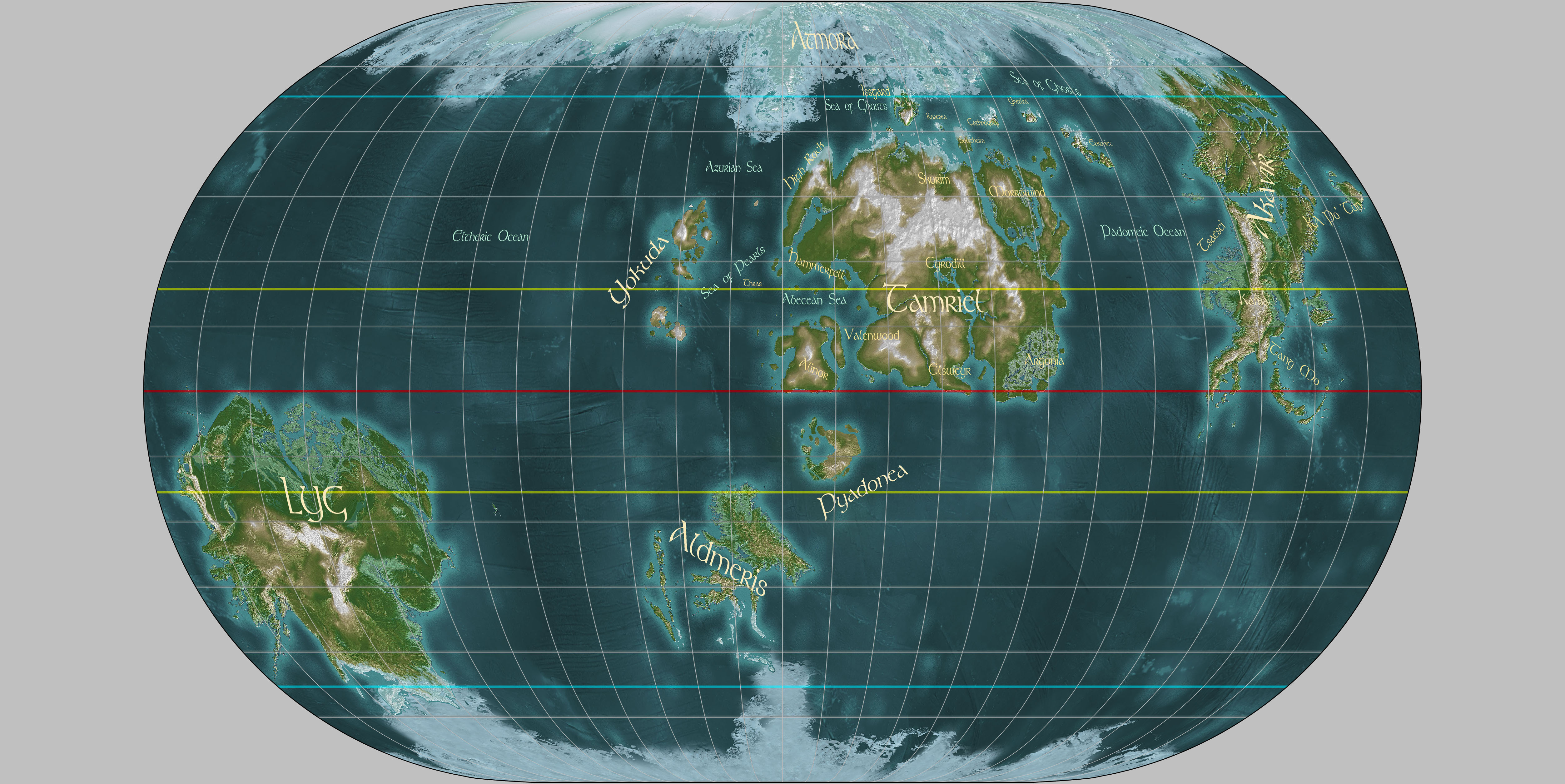 Marvelous Nirn World Map Equidistant Projection