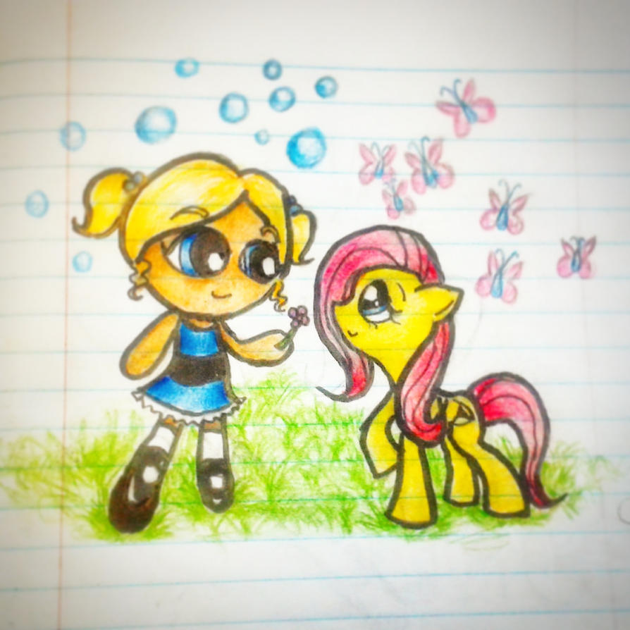 Bubbles meets Fluttershy by DonnelliaIizsilent