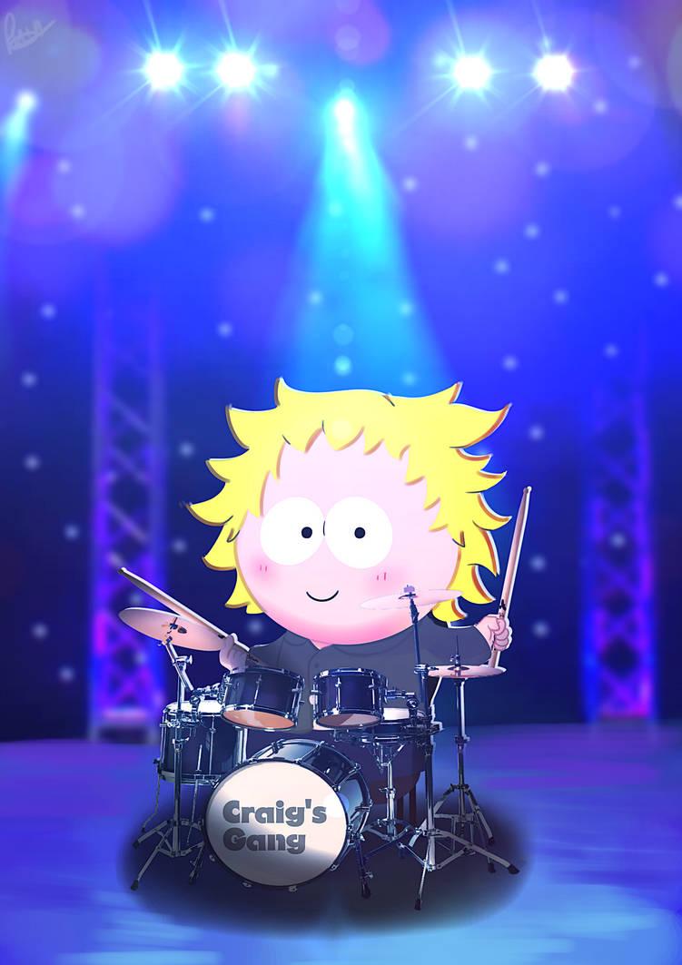Tweek playing on drums by Phinbella-Flynn