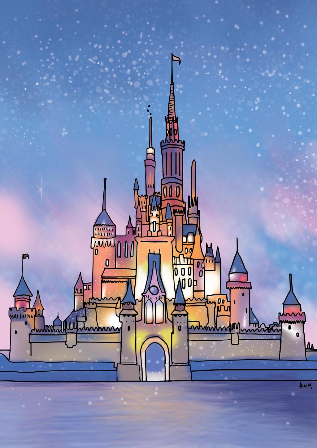 Disney castle by art4amysam on deviantart for Disney castle mural wallpaper