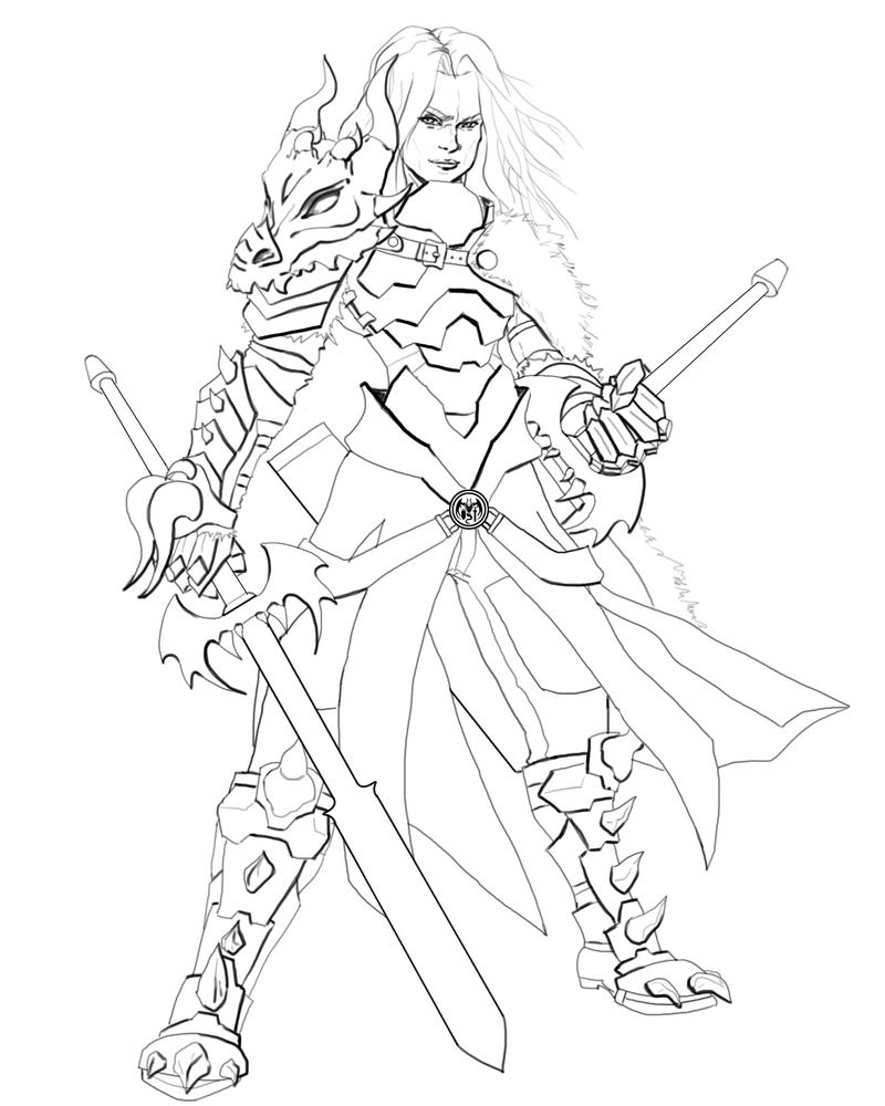 Commission - Daemon Stormcaller Line Art by seanbianchi