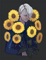 Victor with sunflowers by Sayuri1314