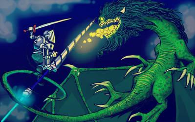 Goblin Dragon versus Ribbon Knight by TomBerck
