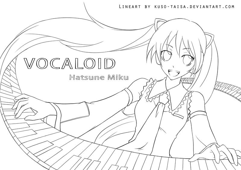 Vocaloid-Miku lineart by kuso-taisa