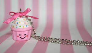 Pink kawaii cupcake necklace