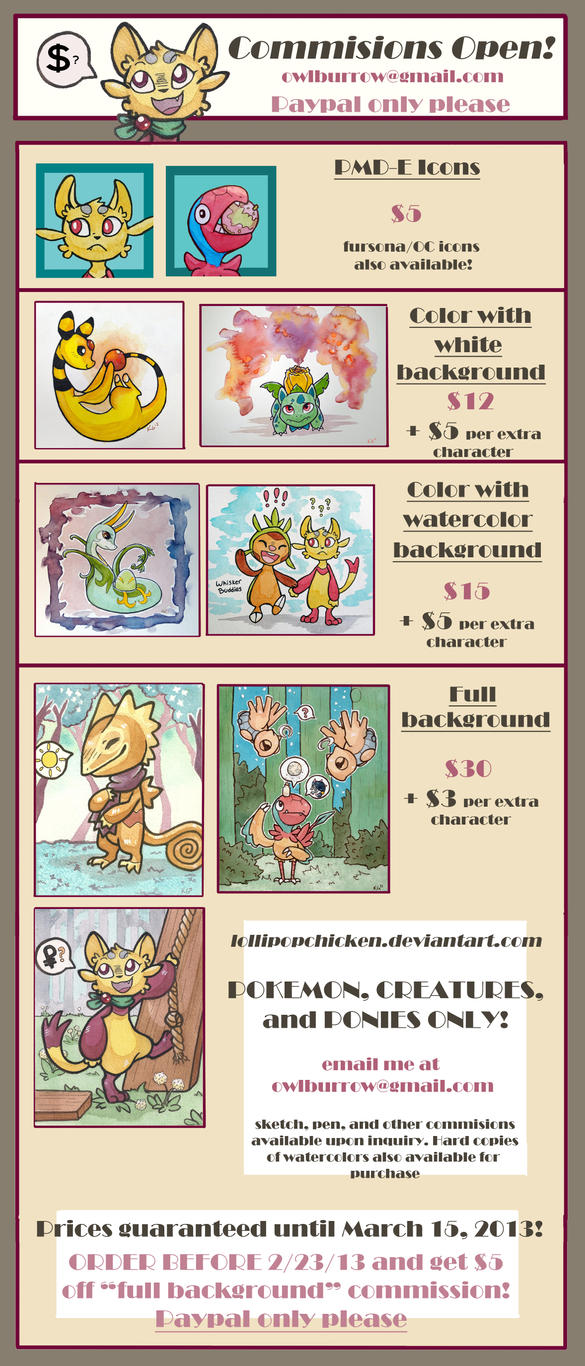 COMMISSIONS OPEN! Special deal this week only by owlburrow