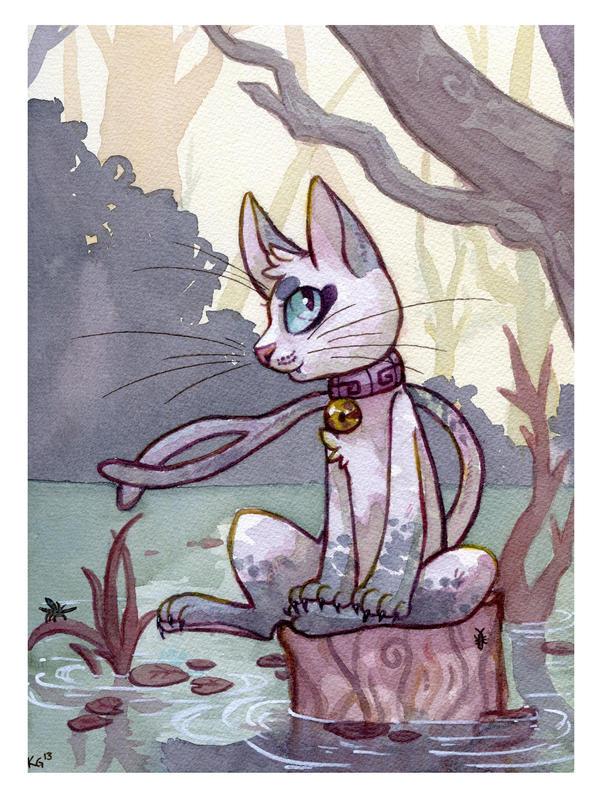 kitty on a log by owlburrow