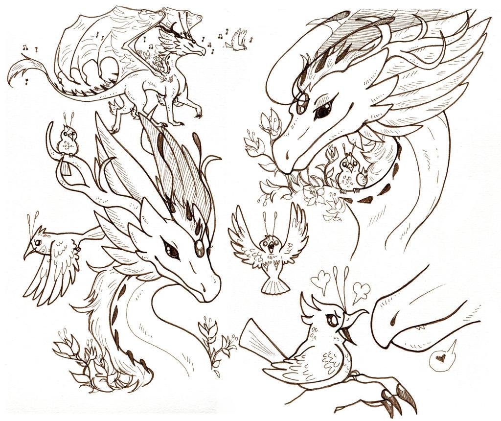 Dragon and Bird Friend by owlburrow
