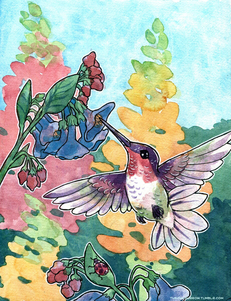 Hummingbird and Snapdragons by owlburrow