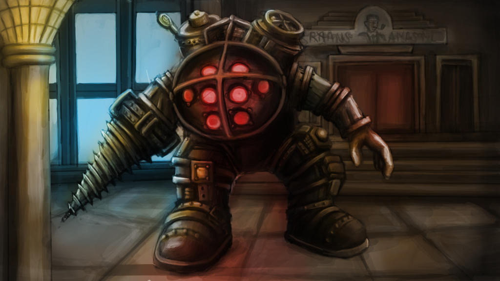 Bioshock big daddy digital painting by bigbigbigdaddy on for Big daddy s antiques