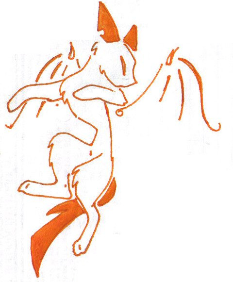 chat tribal tattoo orange by Paya-Art