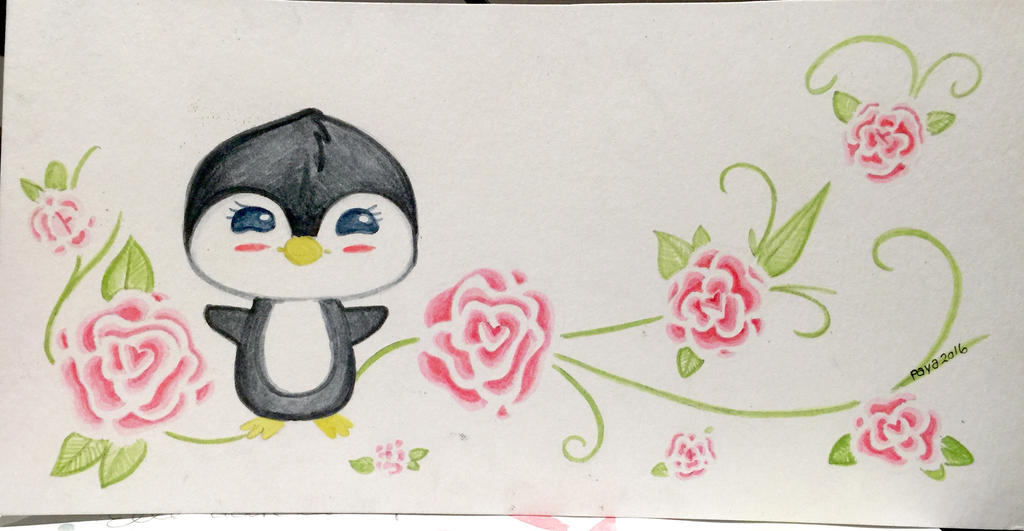 Penguin - floral by Paya-Art